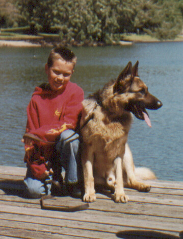 Jims dog and gr son.JPG (73969 bytes)